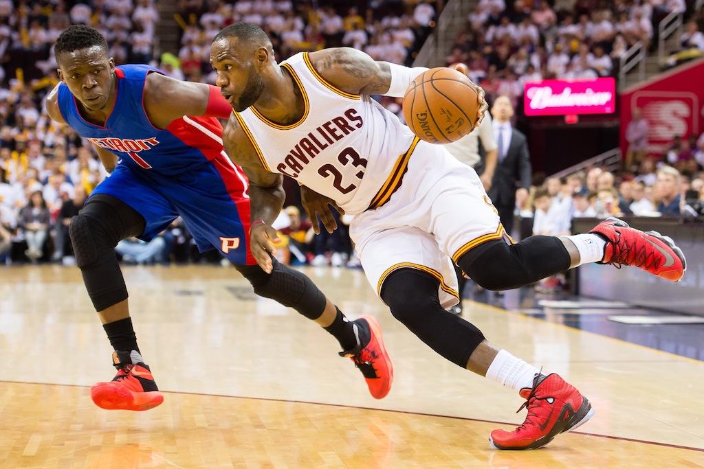 LeBron James drives to the basket.