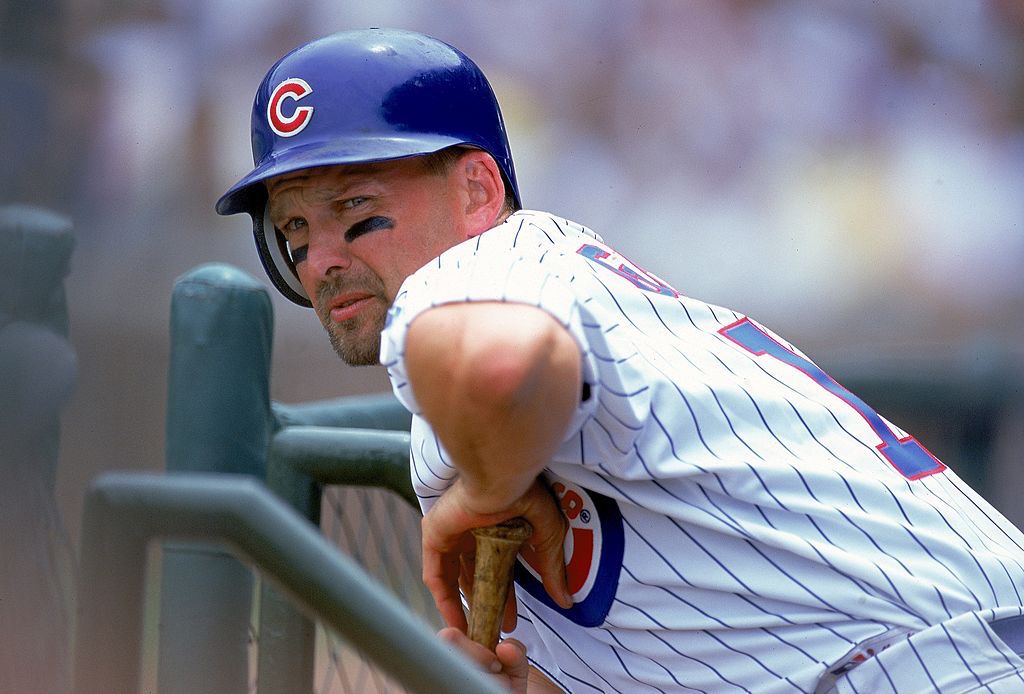 Mark Grace of the Chicago Cubs stretches during a game.