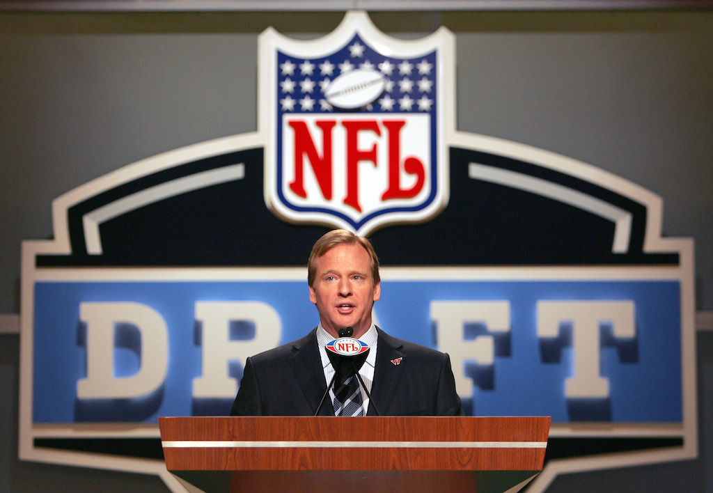 NFL Commissioner Roger Goodell during the NFL draft at Radio City Music Hall in New York, NY on Saturday, April 28, 2007.