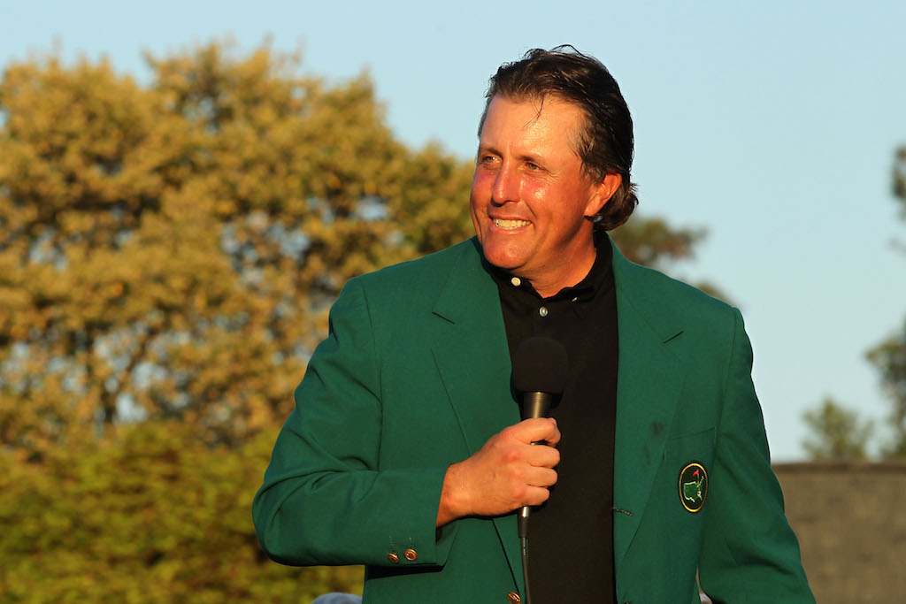 Jamie Squire/Getty ImagesPhil Mickelson addresses the crowd following his win at the 2010 Masters.