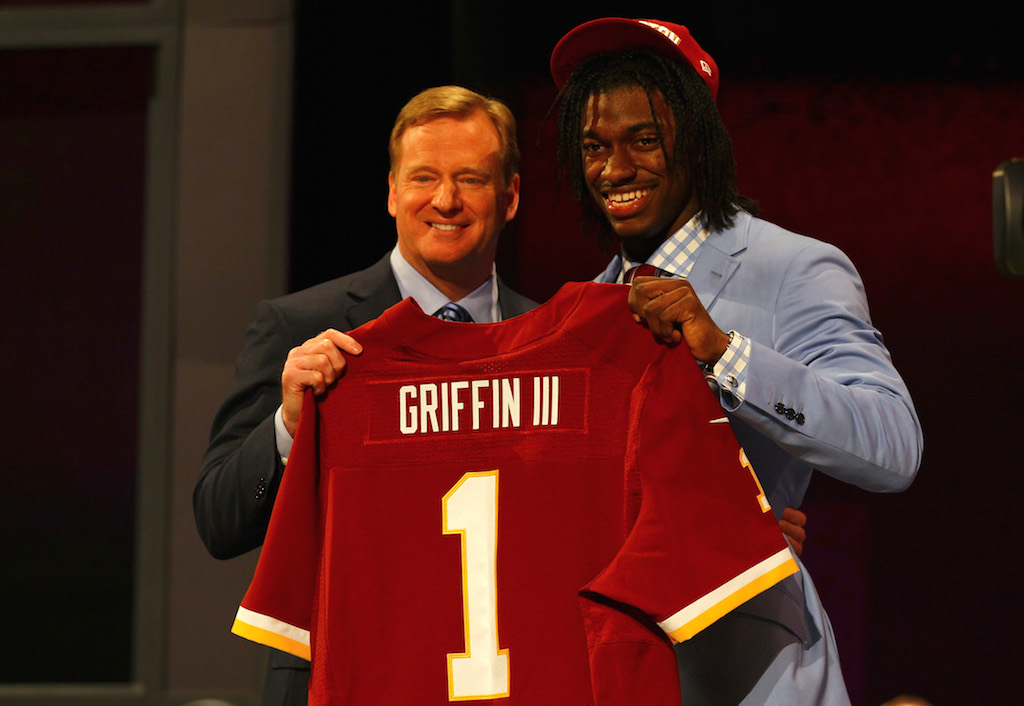 The Washington Redskins selected former Baylor quarterback Robert Griffin III with the second overall pick in the 2012 NFL Draft.
