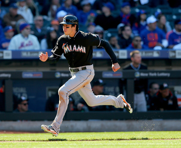 Christian Yelich sprinting down the line for the Miami Marlins
