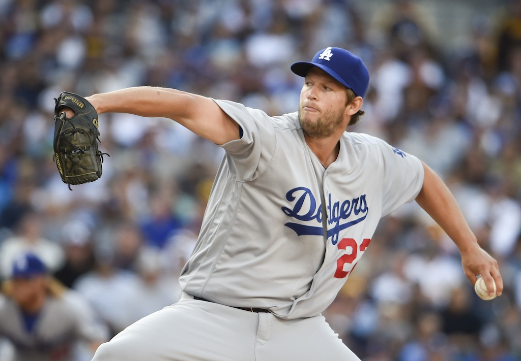 Clayton Kershaw pitches against the Padres.