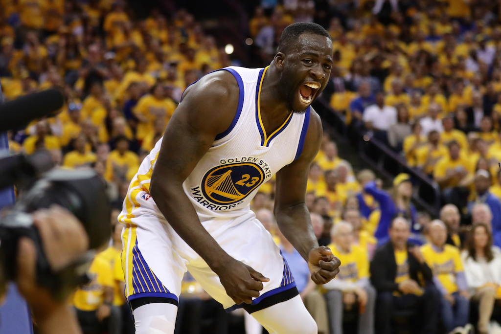 Draymond Green reacts after scoring in Game 5 of the WCF. | Ezra Shaw/Getty Images