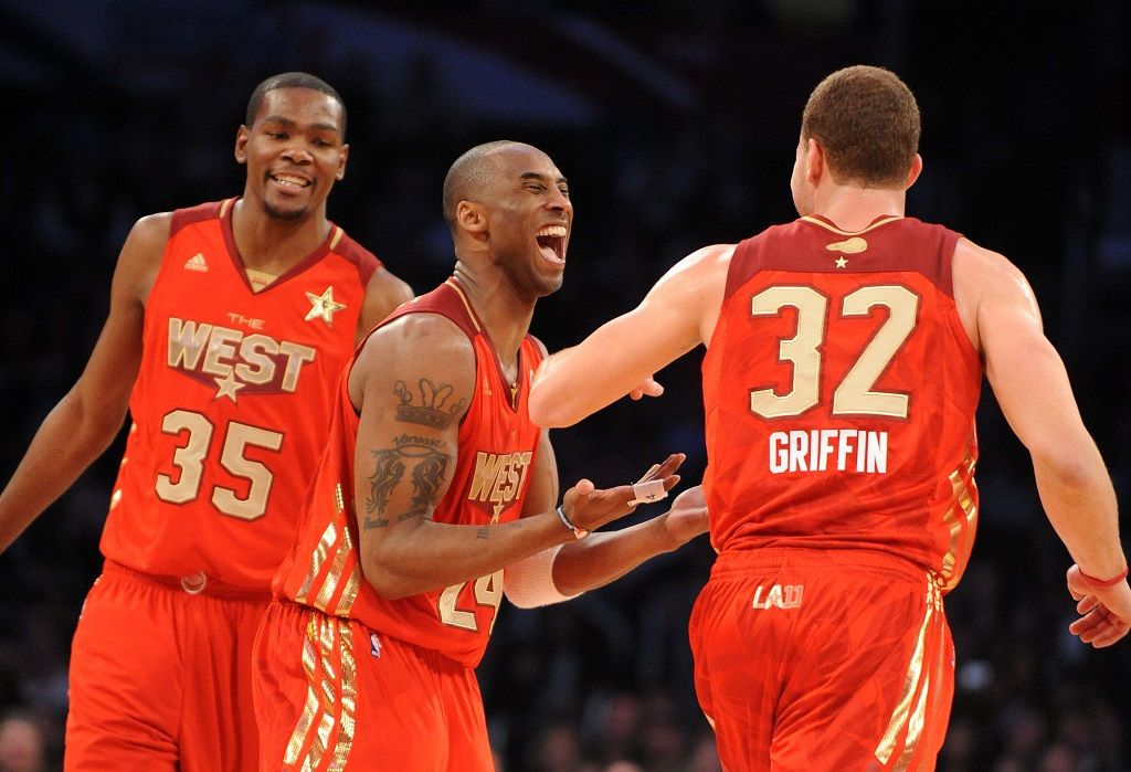 Kobe Bryant of the L.A. Lakers celebrating for the West team.