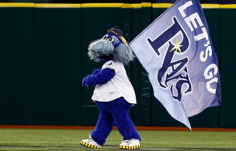 Raymond, the mascot of the Tampa Bay Rays tries to get the crowd going.
