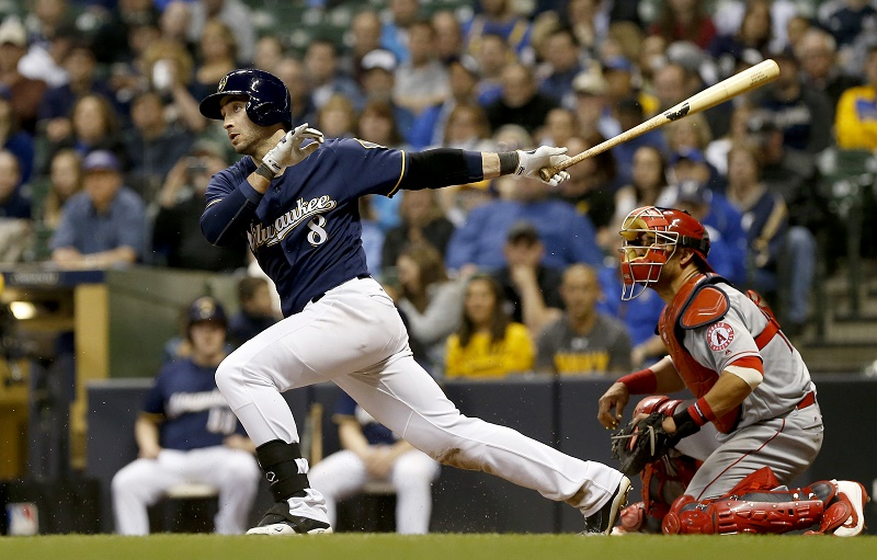 Ryan Braun of the Milwaukee Brewers hits a single against the Los Angeles Angels.