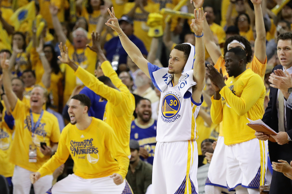 Golden State Warriors react on the bench during Game 5 of the WCF. | Ezra Shaw/Getty Images
