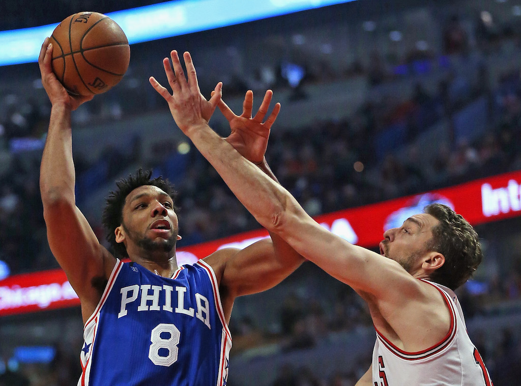 Jahlil Okafor puts up a shot in the post.