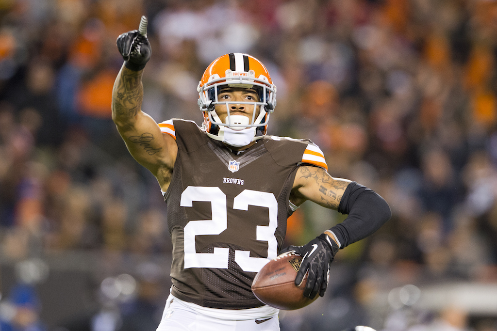 CLEVELAND, OH - NOVEMBER 3: Cornerback Joe Haden #23 of the Cleveland Browns celebrates after catching and interception during the first half against the Baltimore Ravens at FirstEnergy Stadium on November 3, 2013 in Cleveland, Ohio. (Photo by Jason Miller/Getty Images)