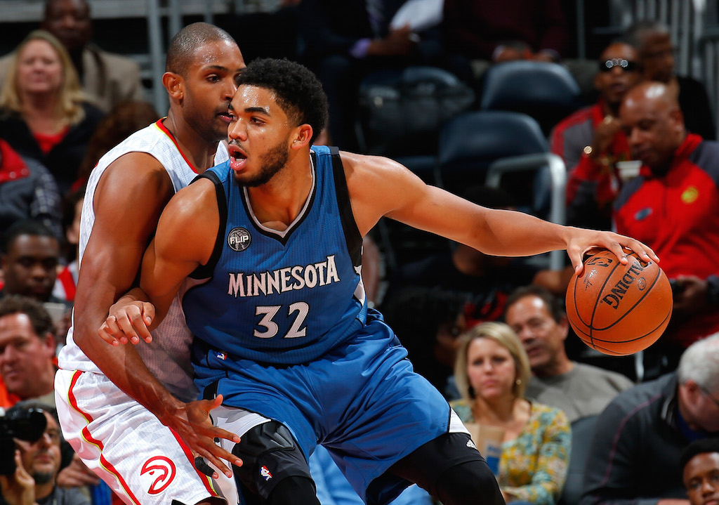 Karl-Anthony Towns posting up against the Atlanta Hawks