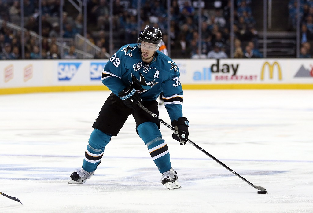 SAN JOSE, CA - APRIL 29: Logan Couture #39 of the San Jose Sharks in action against the Nashville Predators in Game One of the Western Conference Second Round during the 2016 NHL Stanley Cup Playoffs at SAP Center on April 29, 2016 in San Jose, California.