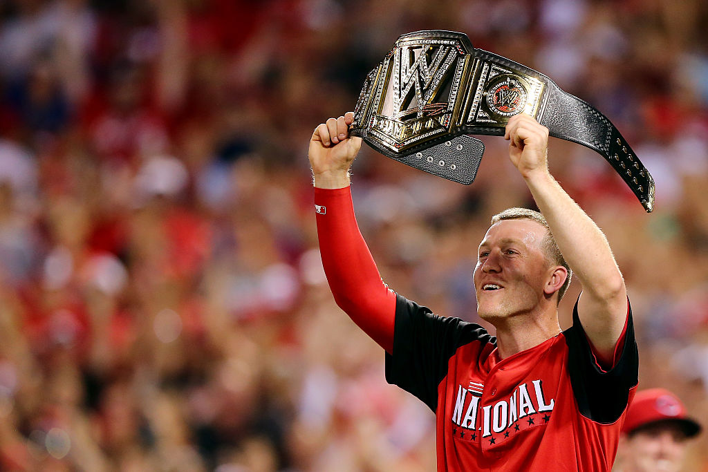 National League All-Star Todd Frazier of the Cincinnati Reds celebrates winning the Gillette Home Run Derby.