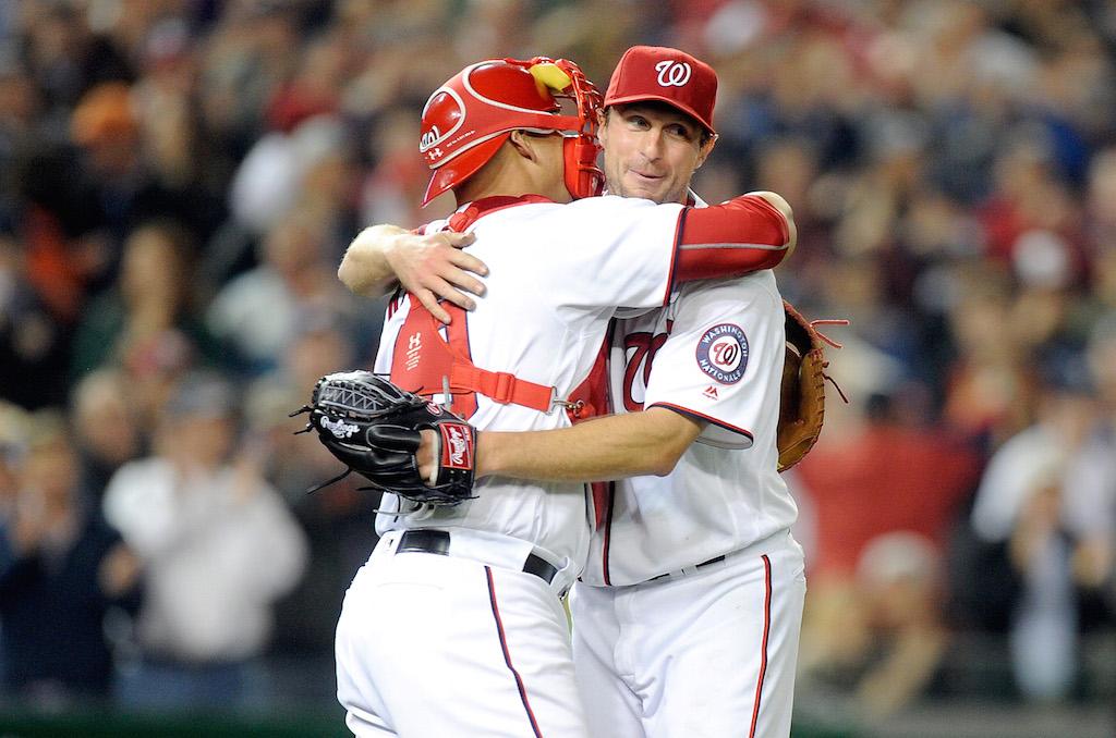 Max Scherzer celebrates after tying MLB strikeout record.