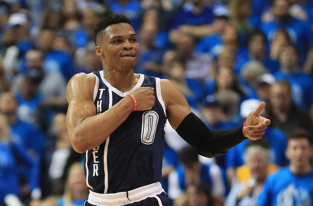 Russell Westbrook celebrates hitting a three-pointer.