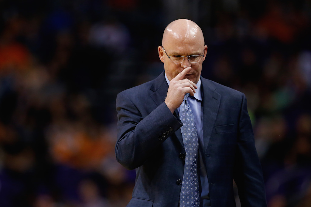 Former Orlando Magic coach Scott Skiles reacts during a game against the Suns.