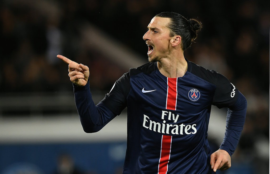 Zlatan Ibrahimovi? celebrates after scoring a goal.