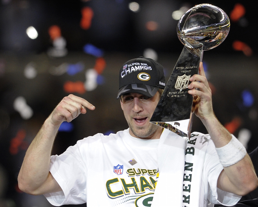 Aaron Rodgers celebrates winning Super Bowl XLV.