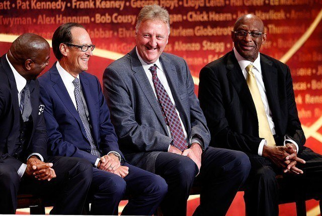 David Stern (not pictured), inductee, speaks while presenters Larry Bird, Earvin 'Magic' Johnson, Bob Lanier, and NBA contributor Russ Granik listen during the 2014 Basketball Hall of Fame Enshrinement Ceremony at Symphony Hall on August 8, 2014 in Springfield, Massachusetts. (Photo by Jim Rogash/Getty Images)