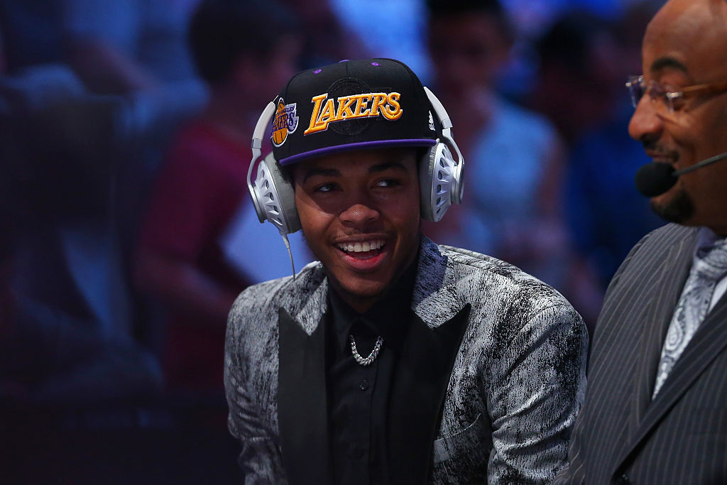 Brandon Ingram is interviewed after being drafted second overall by the Los Angeles Lakers in the first round of the 2016 NBA Draft at the Barclays Center on June 23, 2016 in the Brooklyn borough of New York City. NOTE TO USER: User expressly acknowledges and agrees that, by downloading and or using this photograph, User is consenting to the terms and conditions of the Getty Images License Agreement. (Photo by Mike Stobe/Getty Images)