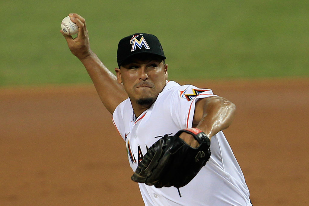 Carlos Zambrano #38 of the Miami Marlins pitches in the third inning against the Tampa Bay Rays at Marlins Park on June 9, 2012 in Miami, Florida.