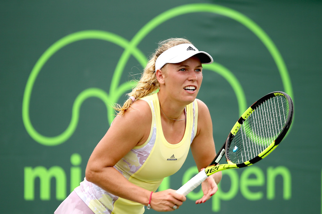 Caroline Wozniacki competes in the Miami Open