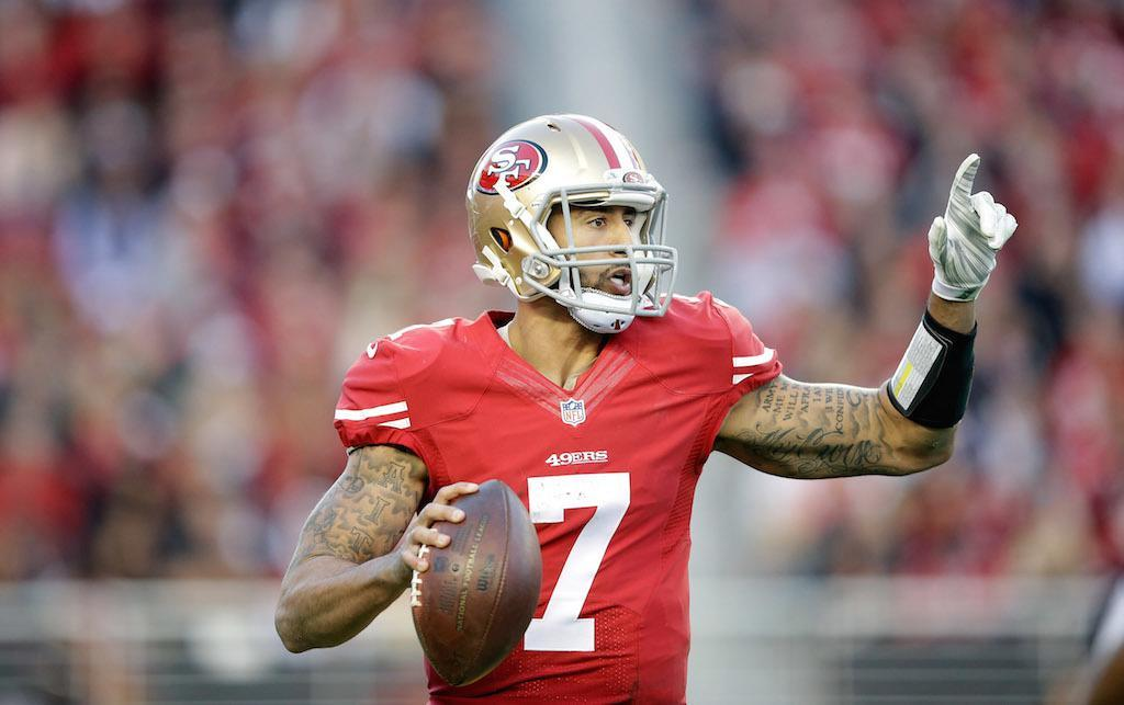 Colin Kaepernick looks for a target.