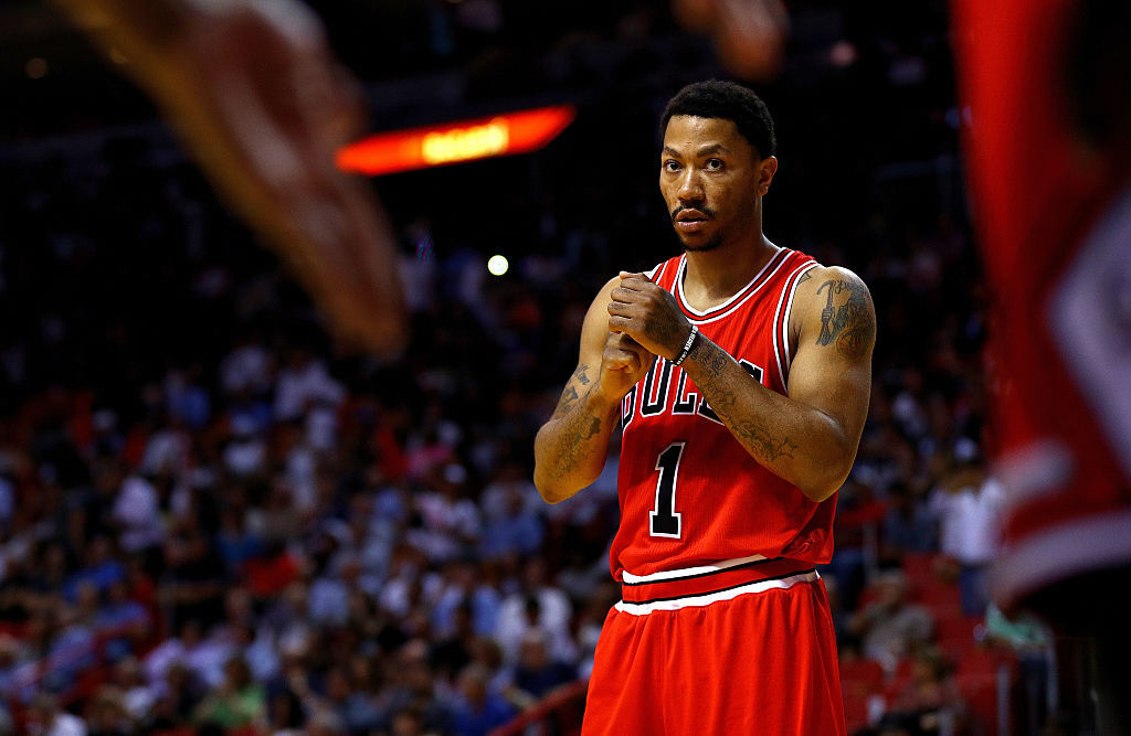 Derrick Rose of the Chicago Bulls looks on during a game.