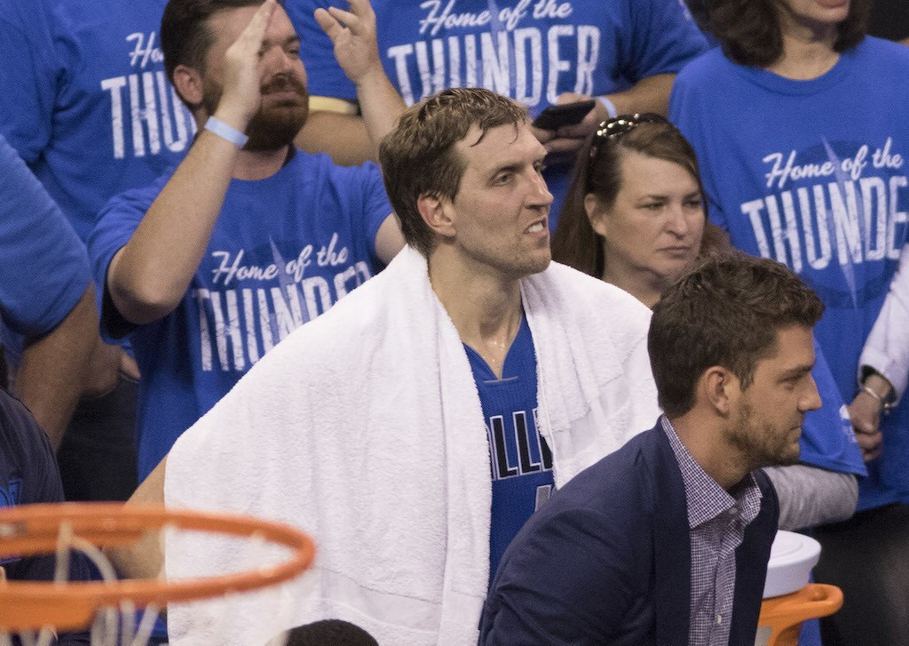 Dirk Nowitzki looks on as the Mavs' season comes to an end.