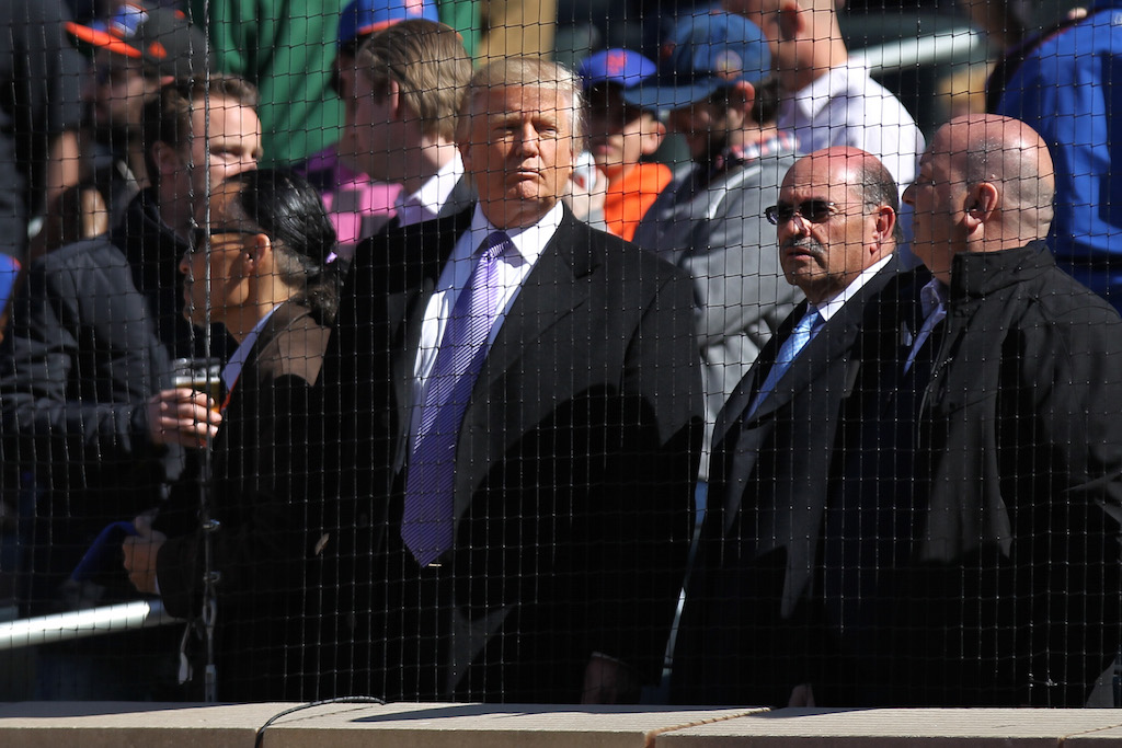 Donald Trump attends the Mets game on Opening Day.