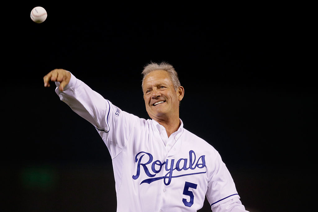 Hall of Famer George Brett throws out the ceremonial first pitch before Game 2 of the 2014 World Series.
