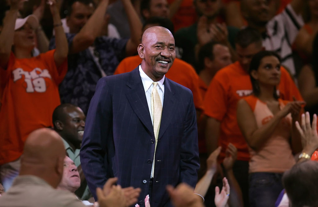 George Gervin watches the Mavs battle the Suns.