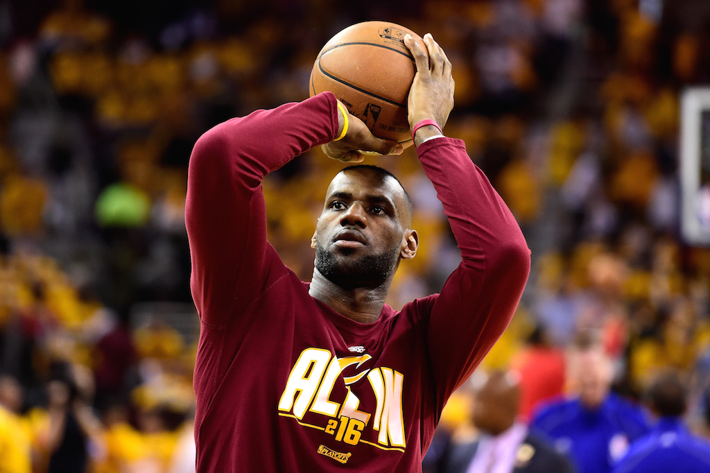 LeBron James warms up. | Jason Miller/Getty Images