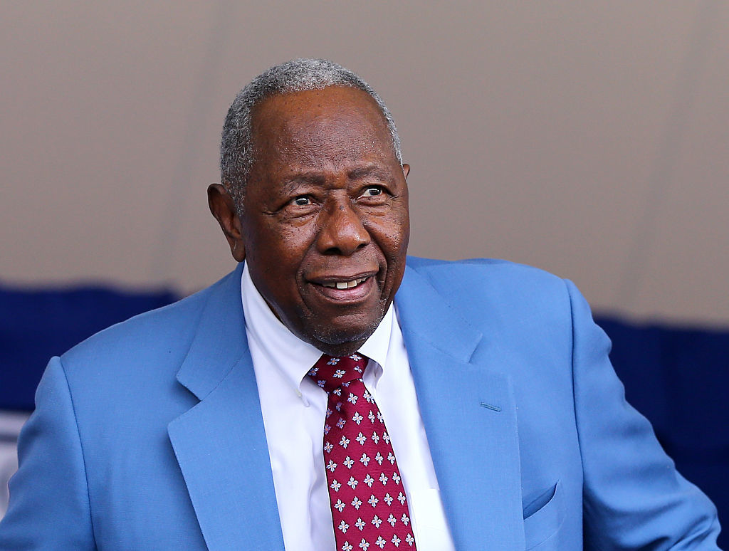 Hank Aaron attends the Hall of Fame Induction Ceremony at National Baseball Hall of Fame on July 26, 2015 in Cooperstown, New York.