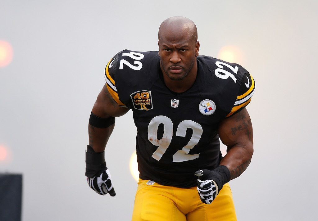 James Harrison of the Pittsburgh Steelers is introduced prior to a game.