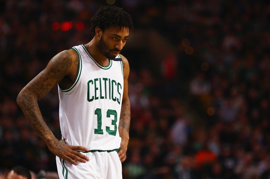 BOSTON, MA - DECEMBER 11: James Young #13 of the Boston Celtics looks on during the second quarteragainst the Golden State Warriors at TD Garden on December 11, 2015 in Boston, Massachusetts. (Photo by Maddie Meyer/Getty Images)