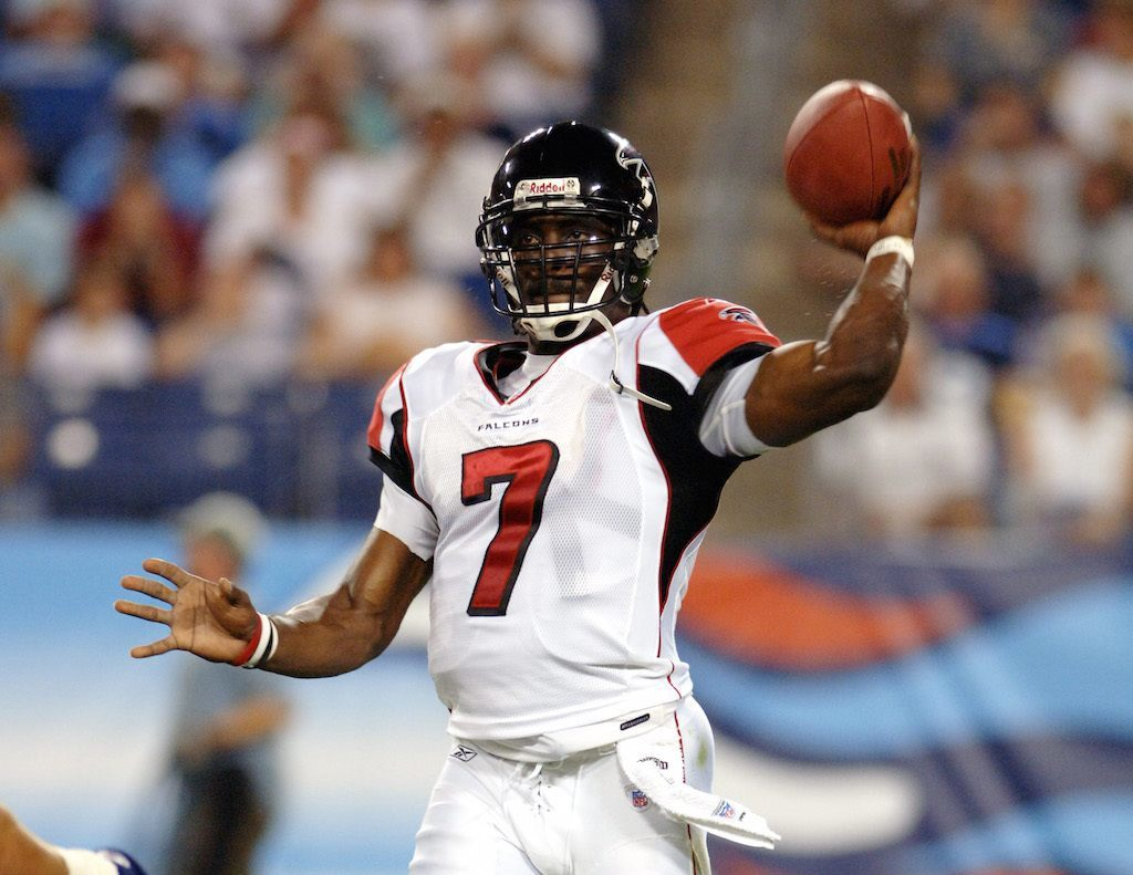 Michael Vick looks to throw the ball during a game.