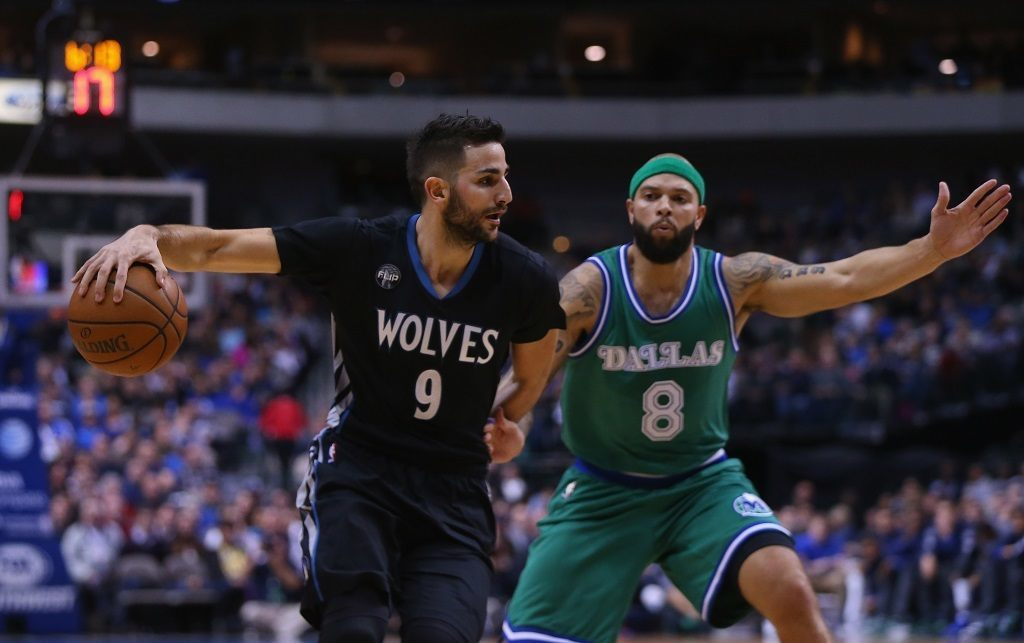 Ricky Rubio #9 looking to drop dimes. | Ronald Martinez/Getty Images