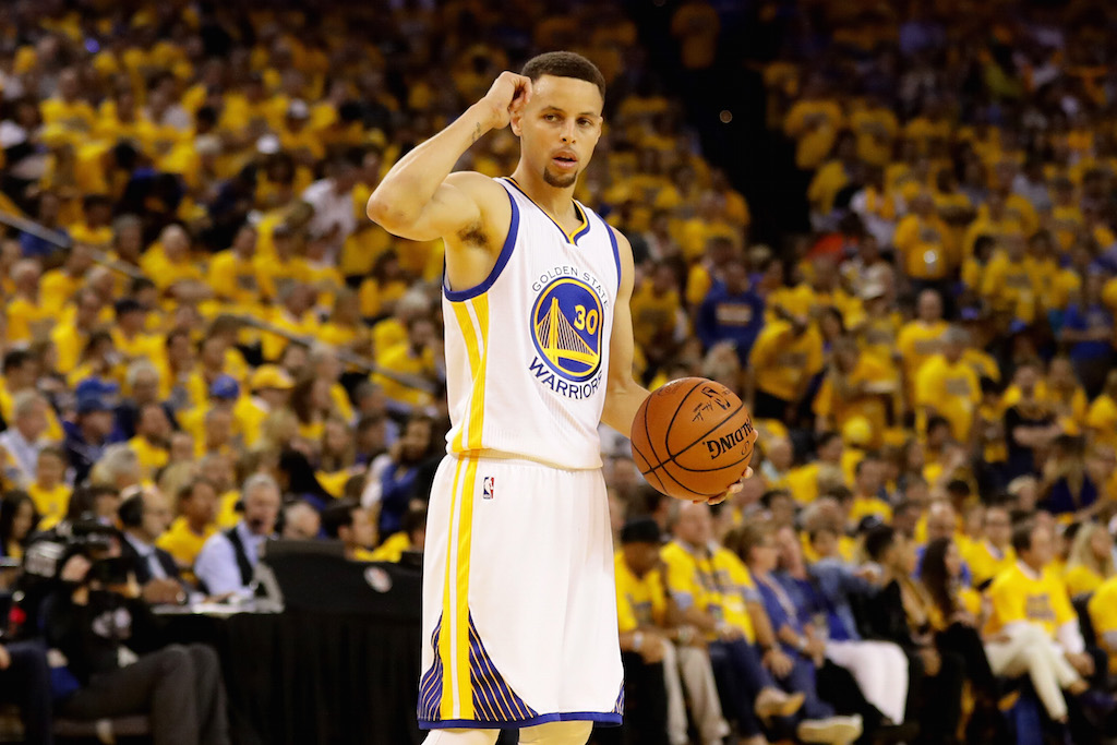 Stephen Curry looks on during Game 1 of the 2016 NBA Finals | Ezra Shaw/Getty Images