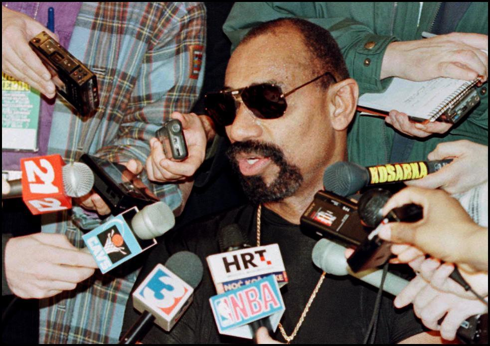 NBA legend Wilt Chamberlain speaking to reporters