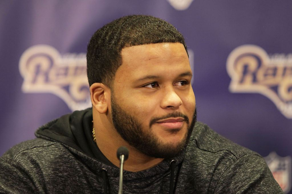 Aaron Donald speaks during a press conference.