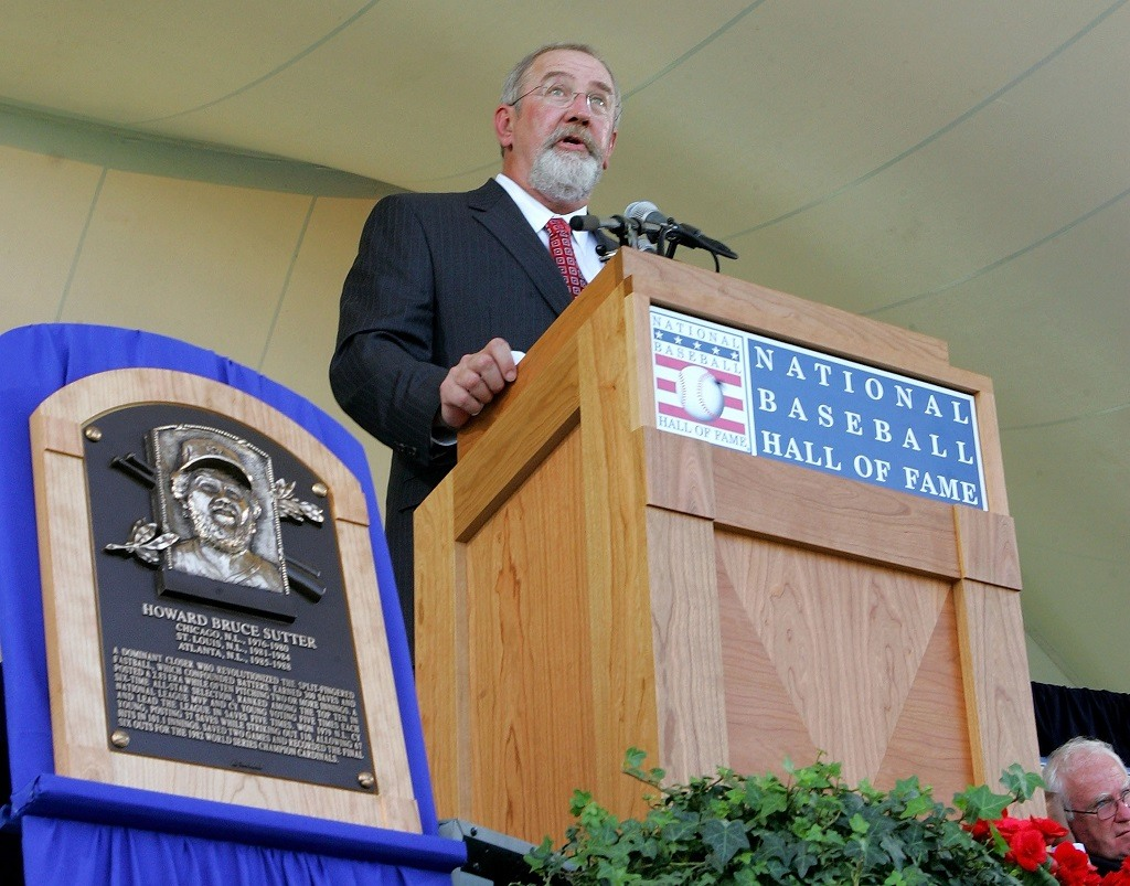 COOPERSTOWN, NY - JULY 30: 2006 inductee Bruce Sutter gives his acceptance speech at Clark Sports Center during the Baseball Hall of Fame induction ceremony on July 30, 2006 in Cooperstown, New York. (Photo by Jim McIsaac/Getty Images)