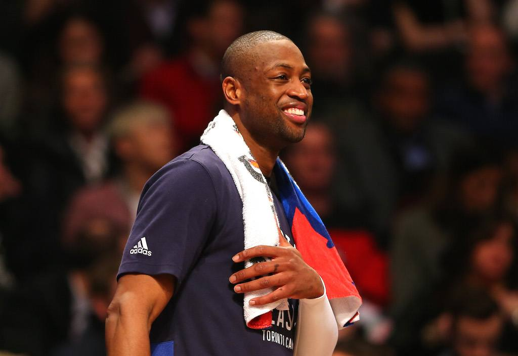 Dwyane Wade is all smiles. For now. | Elsa/Getty Images