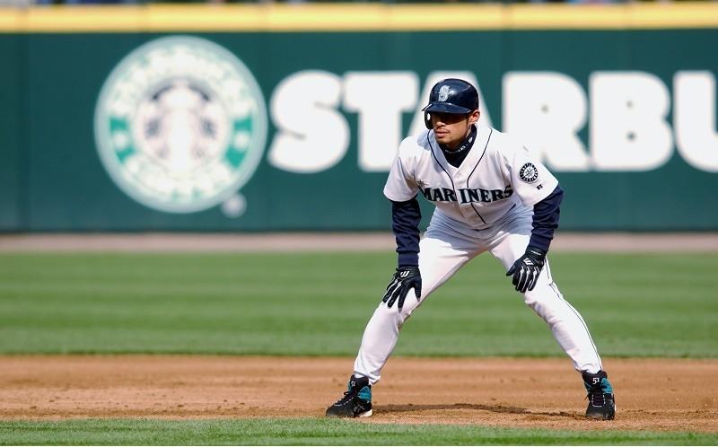 ichiro suzuki on the field for the marlins