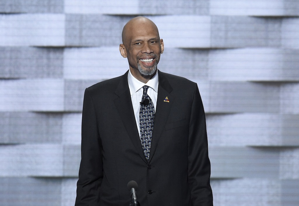 Kareem Abdul-Jabbar speaks at the Democratic National Convention.