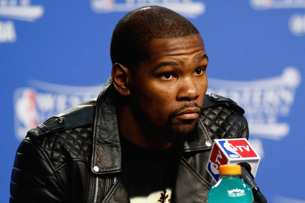 Kevin Durant speaks to the media during the 2016 NBA Playoffs | J Pat Carter/Getty Images