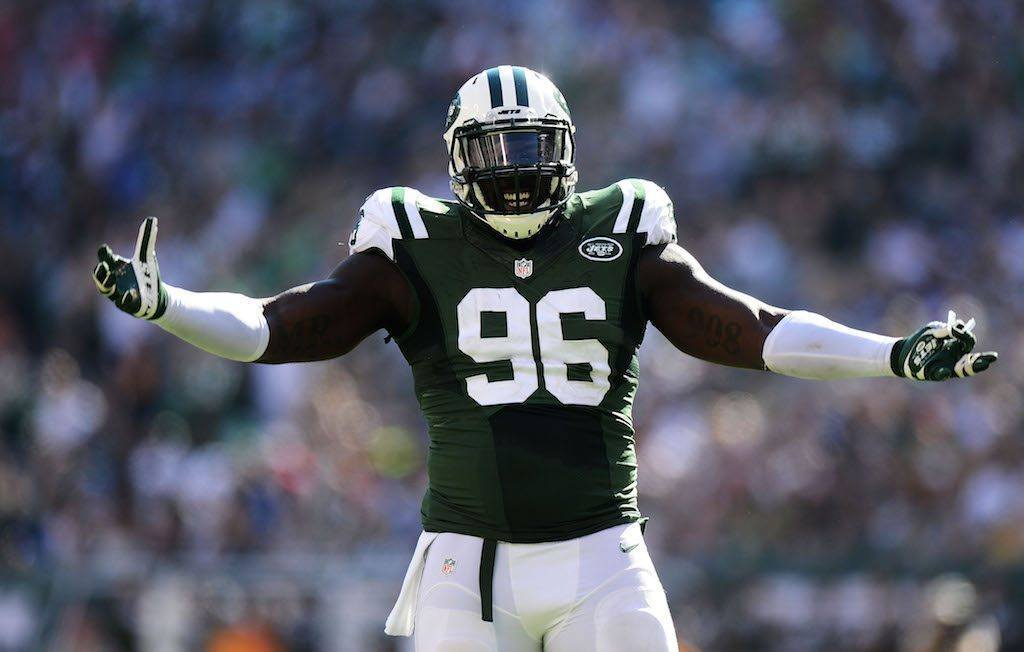 Muhammad Wilkerson celebrates a sack in 2015.