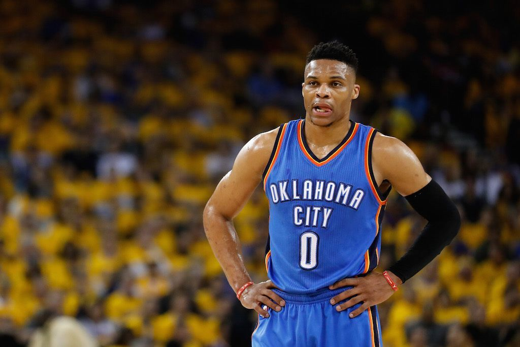 Russell Westbrook stands on the floor during the WCF.