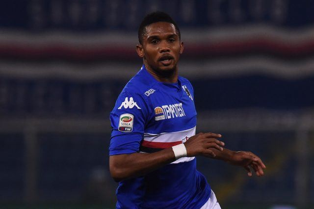 A sweaty Samuel Eto'o of Sampdoria runs across the field.