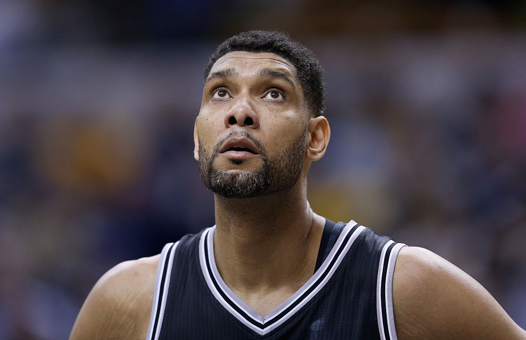 Tim Duncan #21 of the San Antonio Spurs watches the action during the game against the Indiana Pacers at Bankers Life Fieldhouse on February 9, 2015 in Indianapolis, Indiana. (Photo by Andy Lyons/Getty Images)